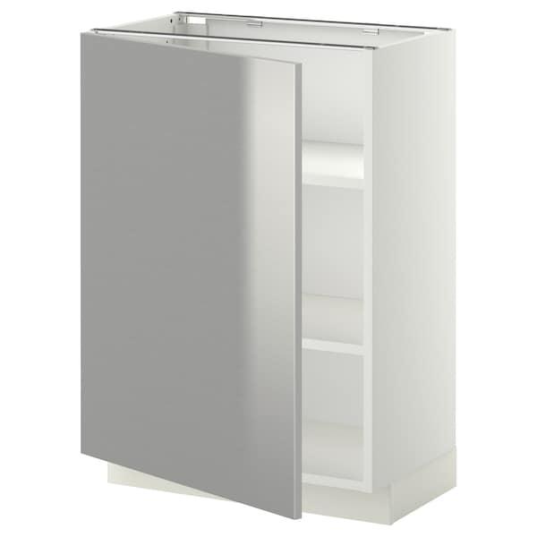 METOD base cabinet with shelves white/Grevsta stainless steel 60.0 cm 39.4 cm 88.0 cm 37.0 cm 80.0 cm