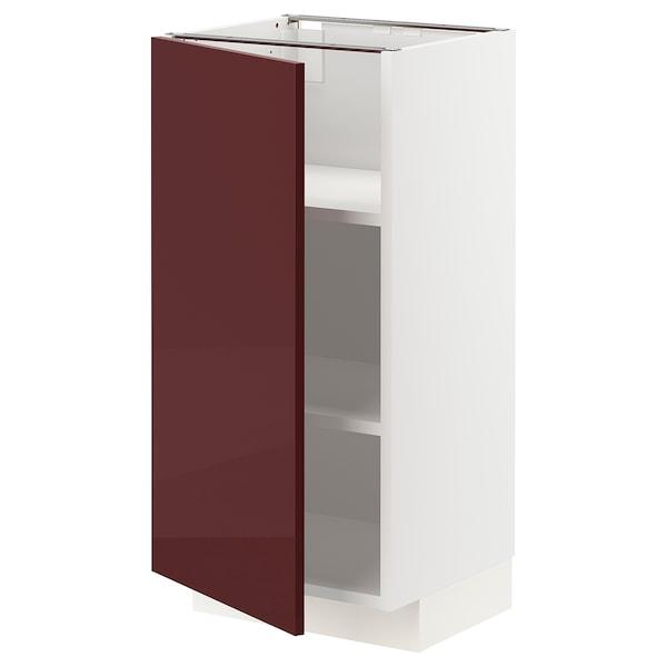 METOD خزانة قاعدية مع رفوف, أبيض Kallarp/لامع أحمر-بني غامق, 40x37 سم