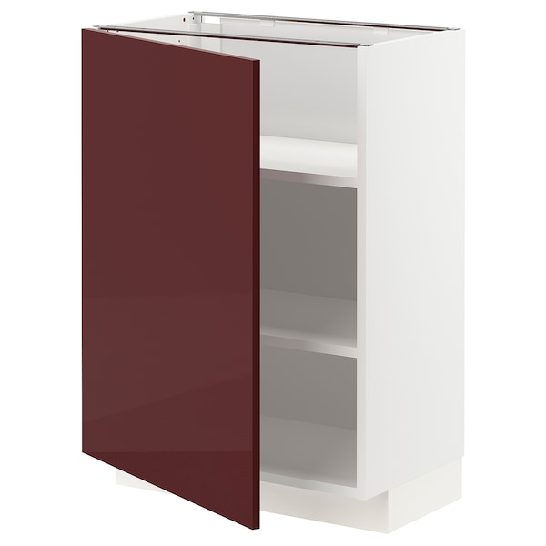 METOD خزانة قاعدية مع رفوف, أبيض Kallarp/لامع أحمر-بني غامق, 60x37 سم