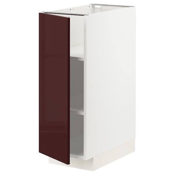 METOD خزانة قاعدية مع رفوف, أبيض Kallarp/لامع أحمر-بني غامق, 30x60 سم