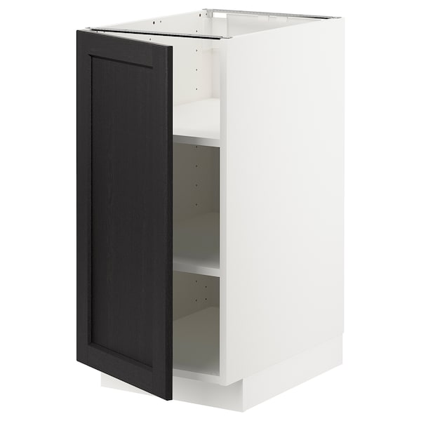 METOD خزانة قاعدة مع أرفف, أبيض/Lerhyttan صباغ أسود, 40x60 سم