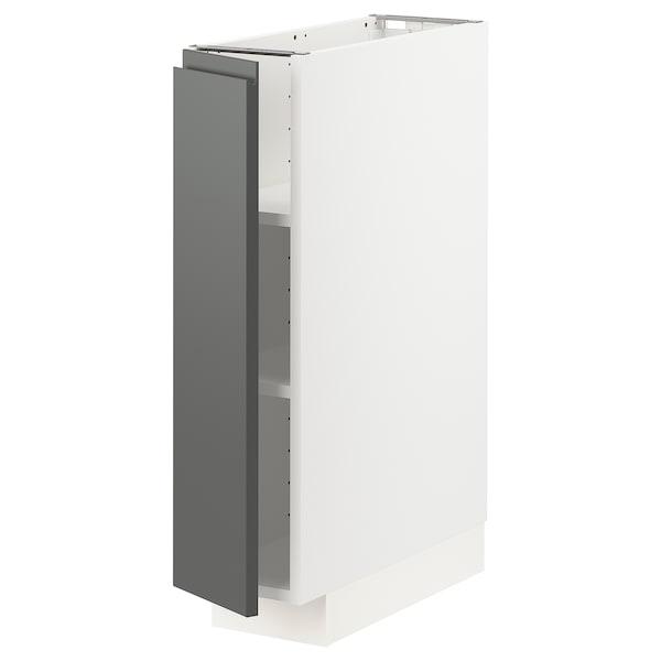 METOD خزانة قاعدة مع أرفف, أبيض/Voxtorp رمادي غامق, 20x60 سم
