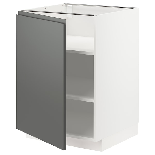 METOD خزانة قاعدة مع أرفف, أبيض/Voxtorp رمادي غامق, 60x60 سم
