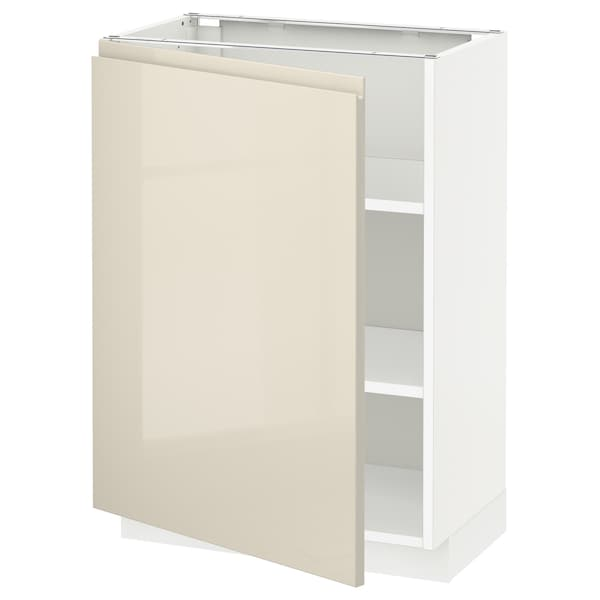 METOD Base cabinet with shelves, white/Voxtorp high-gloss light beige, 60x37 cm
