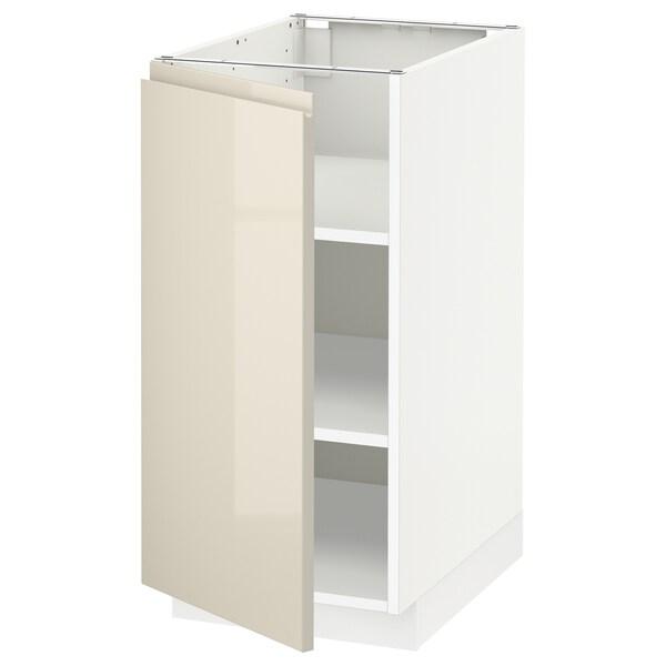 METOD خزانة قاعدة مع أرفف, أبيض/Voxtorp بيج فاتح لامع, 40x60 سم