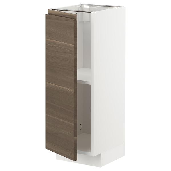 METOD خزانة قاعدة مع أرفف, أبيض/Voxtorp شكل خشب الجوز, 30x37 سم