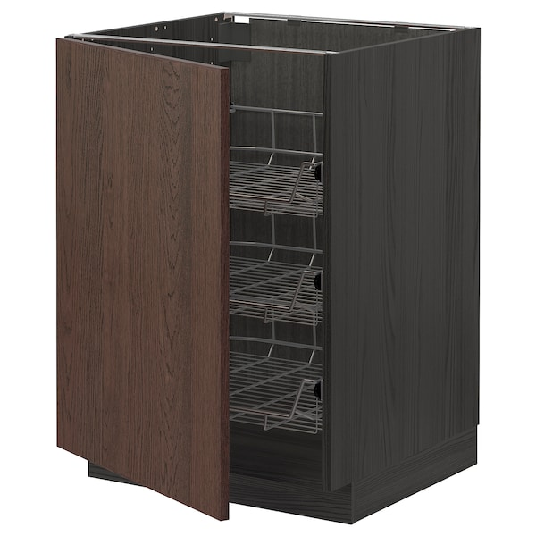METOD Base cabinet with wire baskets, black/Sinarp brown, 60x60 cm