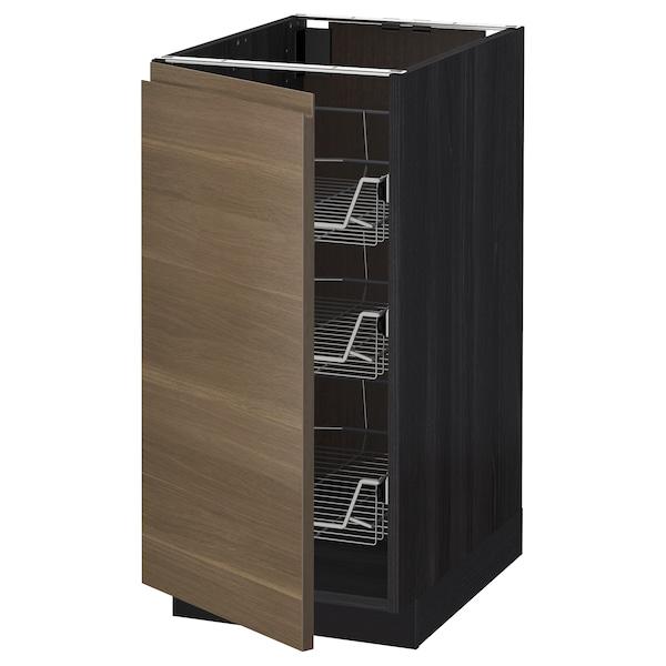 METOD Base cabinet with wire baskets, black/Voxtorp walnut effect, 40x60 cm