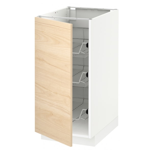 METOD Base cabinet with wire baskets, white/Askersund light ash effect, 40x60 cm