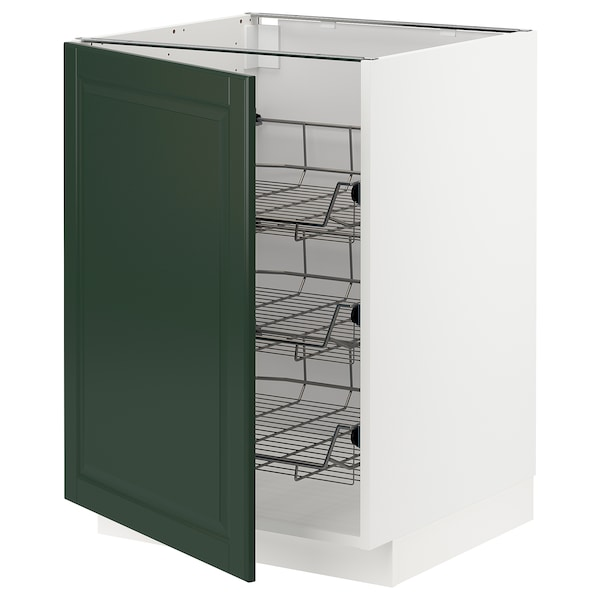 METOD Base cabinet with wire baskets, white/Bodbyn dark green, 60x60 cm