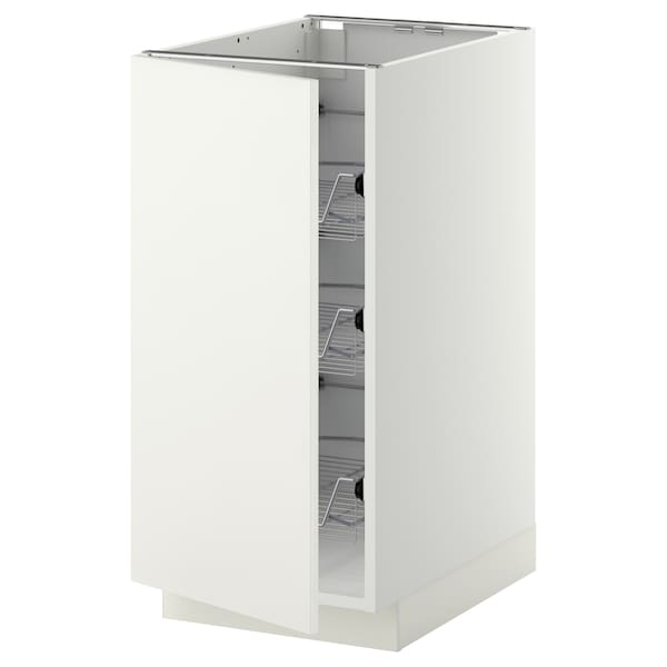 METOD Base cabinet with wire baskets, white/Häggeby white, 40x60 cm