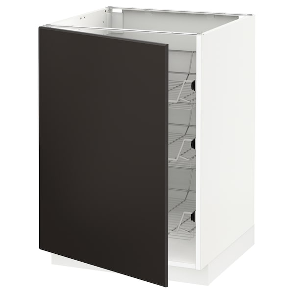 METOD Base cabinet with wire baskets, white/Kungsbacka anthracite, 60x60 cm