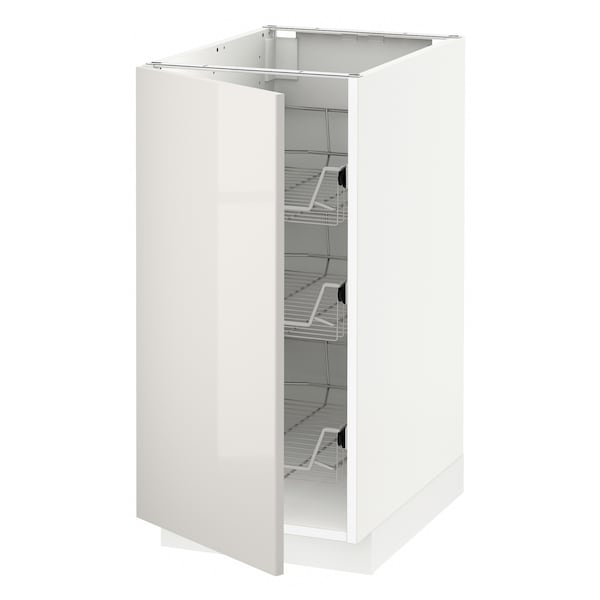 METOD Base cabinet with wire baskets, white/Ringhult light grey, 40x60 cm