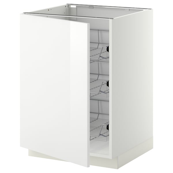 METOD Base cabinet with wire baskets, white/Ringhult white, 60x60 cm