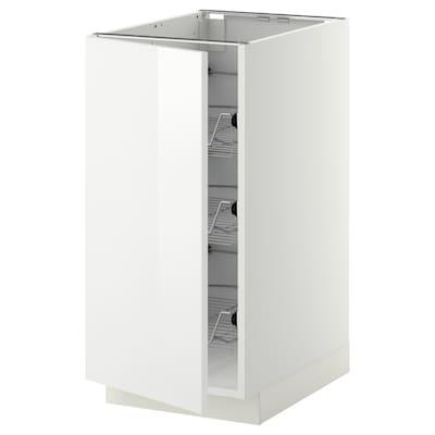 METOD خزانة قاعدة مع سلال سلكية, أبيض/Ringhult أبيض, 40x60 سم
