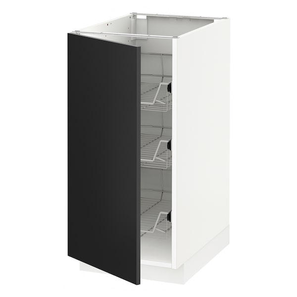 METOD Base cabinet with wire baskets, white/Uddevalla anthracite, 40x60 cm