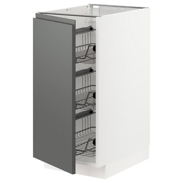 METOD Base cabinet with wire baskets, white/Voxtorp dark grey, 40x60 cm