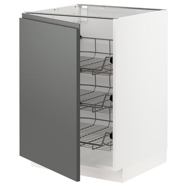 METOD Base cabinet with wire baskets, white/Voxtorp dark grey, 60x60 cm