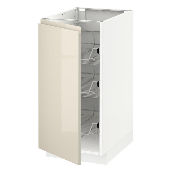 METOD Base cabinet with wire baskets, white/Voxtorp high-gloss light beige, 40x60 cm