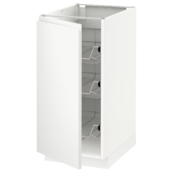 METOD Base cabinet with wire baskets, white/Voxtorp matt white, 40x60 cm