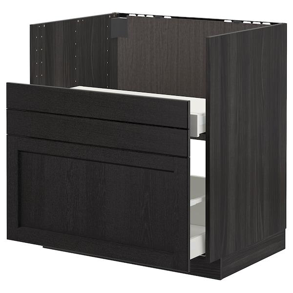 METOD Bc f BREDSJÖN sink/2 fronts/2 drws, black/Lerhyttan black stained, 80x60 cm
