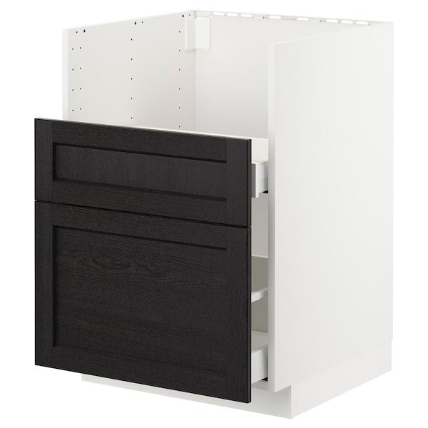 METOD Bc f BREDSJÖN sink/2 fronts/2 drws, white/Lerhyttan black stained, 60x60 cm