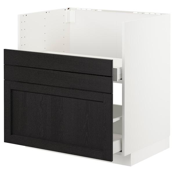 METOD Bc f BREDSJÖN sink/2 fronts/2 drws, white/Lerhyttan black stained, 80x60 cm