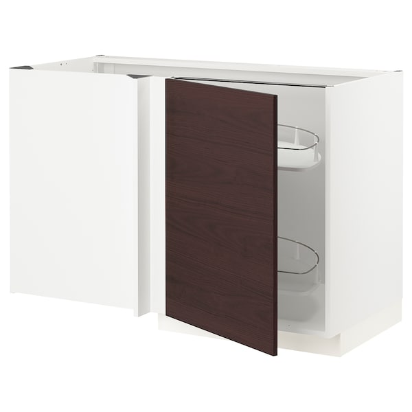 METOD Corner base cab w pull-out fitting, white Askersund/dark brown ash effect, 128x68 cm