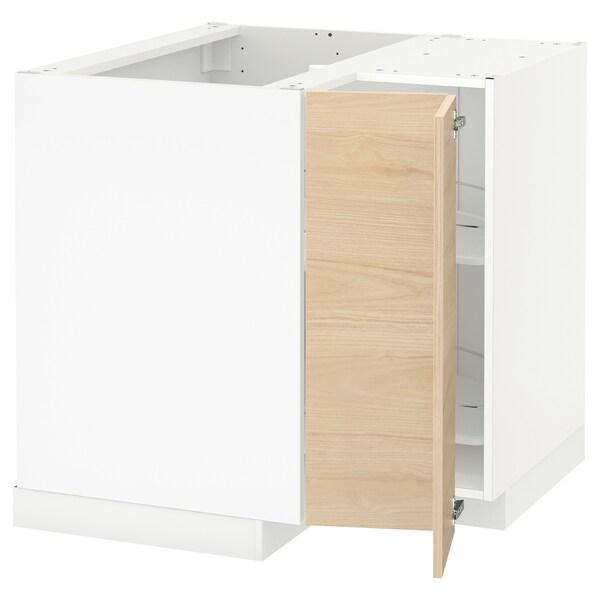 METOD خزانة قاعدة ركنية مع درج دوار, أبيض/Askersund مظهر دردار خفيف, 88x88 سم
