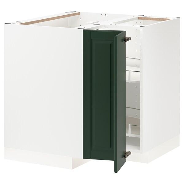 METOD خزانة قاعدة ركنية مع درج دوار, أبيض/Bodbyn أخضر غامق, 88x88 سم
