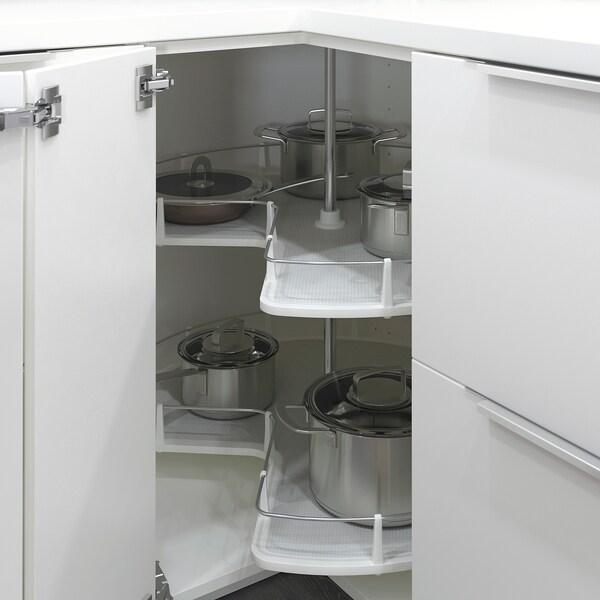 METOD خزانة قاعدة ركنية مع درج دوار, أبيض/Bodbyn رمادي, 88x88 سم