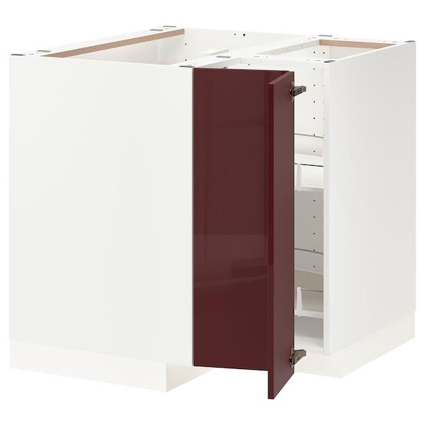 METOD خزانة قاعدة ركنية مع درج دوار, أبيض Kallarp/لامع أحمر-بني غامق, 88x88 سم