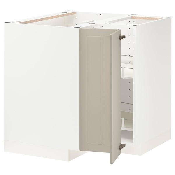 METOD خزانة قاعدة ركنية مع درج دوار, أبيض/Stensund بيج, 88x88 سم