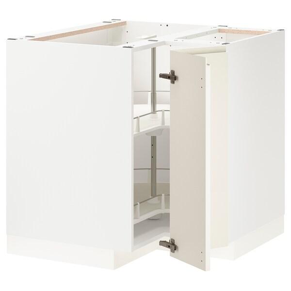 METOD خزانة قاعدة ركنية مع درج دوار, أبيض/Voxtorp بيج فاتح لامع, 88x88 سم