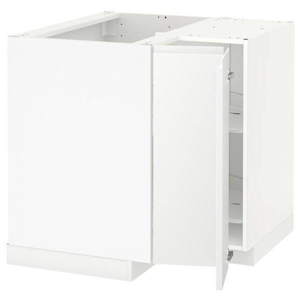 METOD خزانة قاعدة ركنية مع درج دوار, أبيض/Voxtorp أبيض مطفي, 88x88 سم