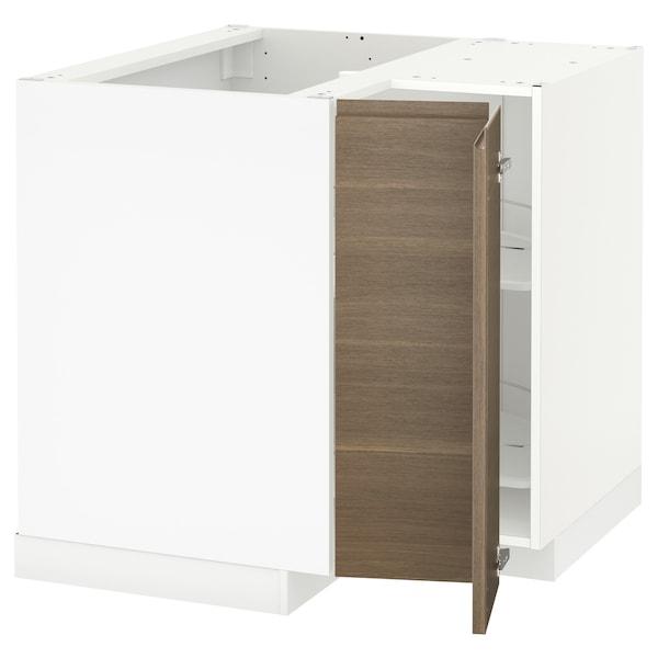 METOD خزانة قاعدة ركنية مع درج دوار, أبيض/Voxtorp شكل خشب الجوز, 88x88 سم