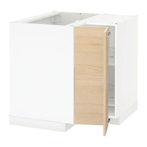 Metod Corner Base Cabinet With Carousel White Askersund Light Ash Effect Ash
