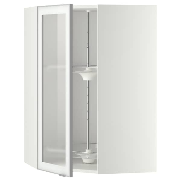 METOD Corner wall cab w carousel/glass dr, white/Jutis frosted glass, 68x100 cm