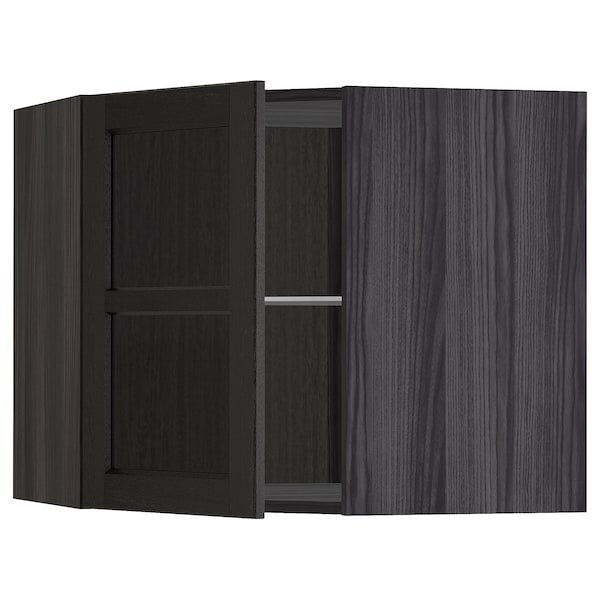 METOD خ. حائط زاوية+أرفف/ب. زجاجي, أسود/Lerhyttan صباغ أسود, 68x60 سم