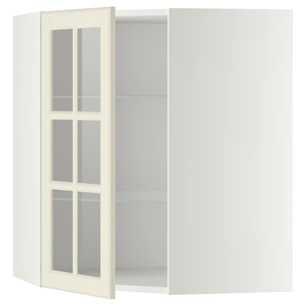 METOD خ. حائط زاوية+أرفف/ب. زجاجي, أبيض/Bodbyn أبيض-عاجي, 68x80 سم