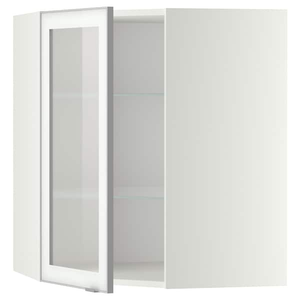 METOD خ. حائط زاوية+أرفف/ب. زجاجي, أبيض/Jutis زجاج محبب, 68x80 سم