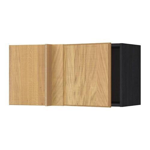Metod corner wall cabinet wood effect black hyttan oak for Oak effect kitchen wall units