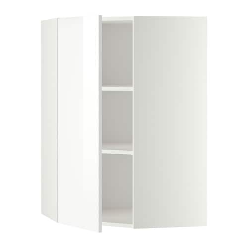 Metod Corner Wall Cabinet With Shelves White Ringhult High Gloss