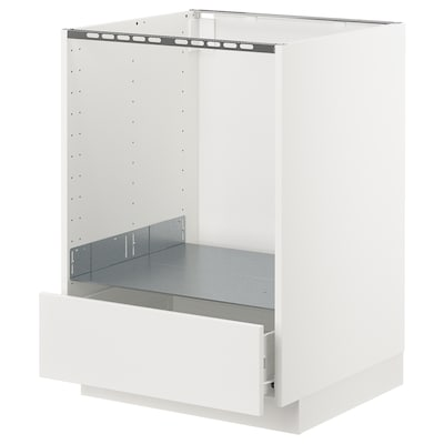 METOD / FÖRVARA Base cabinet for oven with drawer, white/Veddinge white, 60x60 cm