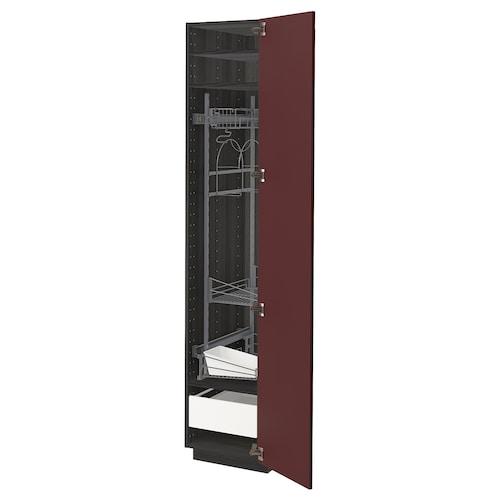 METOD / FÖRVARA high cabinet with cleaning interior black Kallarp/high-gloss dark red-brown 40.0 cm 61.6 cm 208.0 cm 60.0 cm 200.0 cm