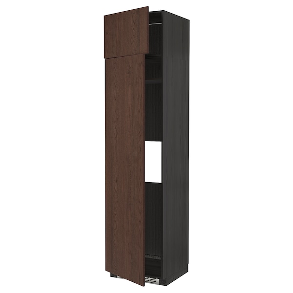 METOD Hi cab f fridge or freezer w 2 drs, black/Sinarp brown, 60x60x240 cm