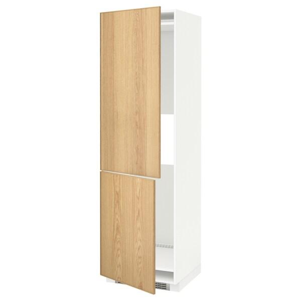 METOD Hi cab f fridge or freezer w 2 drs, white/Ekestad oak, 60x60x200 cm