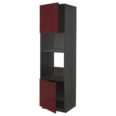 METOD Hi cb f oven/micro w 2 drs/shelves, black Kallarp/high-gloss dark red-brown, 60x60x220 cm