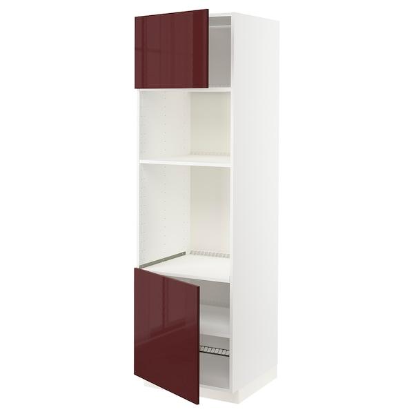 METOD خ. عالية لفرن/ميكرويف 2 أبواب/أرفف, أبيض Kallarp/لامع أحمر-بني غامق, 60x60x200 سم