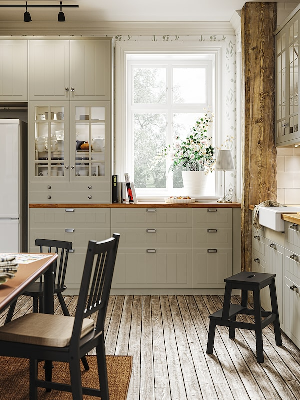 METOD High cab f fridge/freezer w 2 doors, white/Stensund beige, 60x60x220 cm